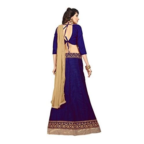 Maxthon Fashion Blue & Cream Silk & Net Lace Work Lehengas Choli