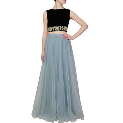 4a5ac7e536280 Buy Ligh Blue   Black Net   Velvet Embroidery Crop Top And Skirt ...