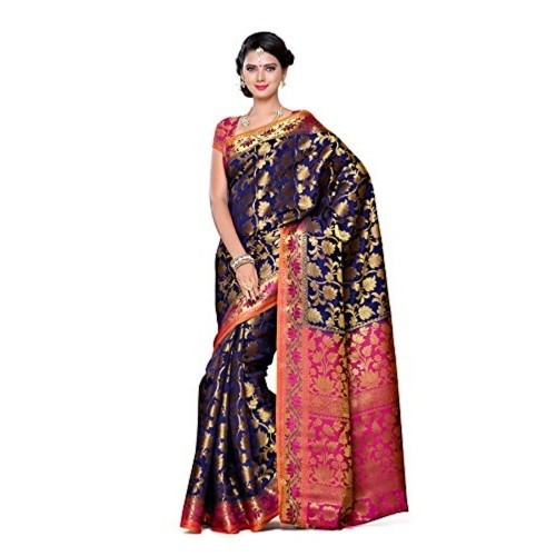 Mimosa Women's Traditional Art Silk Saree Kanjivaram Style With Blouse Color:Navy(3297-153-NVY-RNI )