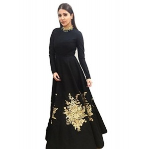 Royal Export Women's Bangalori Silk Black Party Wear Semi-Stitched Gown