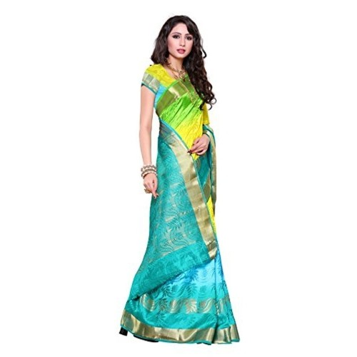 Mimosa Women's Traditional Art Silk Saree Kanchipuram ikkat style, color :Multy(3234-2093-3D-SAFF)