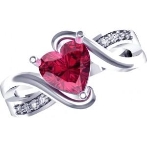 Suvam Jewels Sterling Silver Cubic Zirconia Rhodium Ring