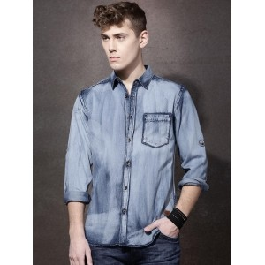 Roadster Navy Blue Cotton Solid Faded Denim Shirt