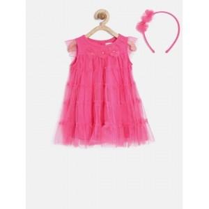 Nauti Nati Girls Pink Embellished Tiered A-Line Dress