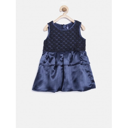 YK Baby Girls Navy Embroidered Fit & Flare Dress