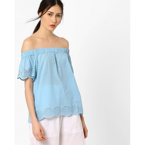 179eb3053179b Buy AJIO Sky Blue Crepe Off-Shoulder Top with Schiffli Embroidery ...