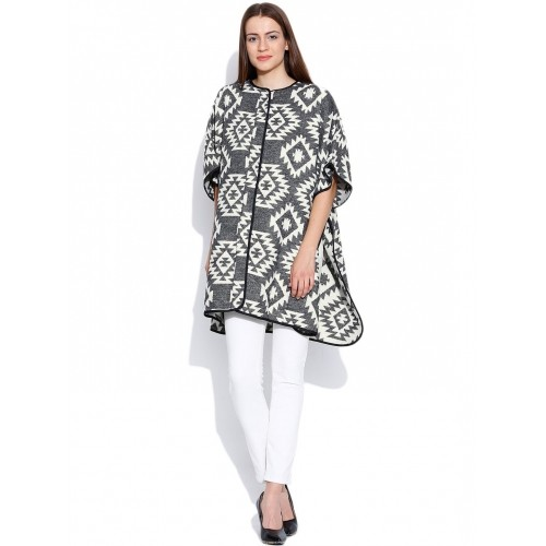 16b109c4ba005 Buy Vero Moda Grey   Off-White Poncho Top with Woven Pattern online ...