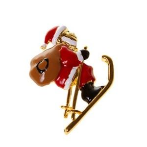 Generic Unisex Enamel Skating Santa Claus Brooch Pin