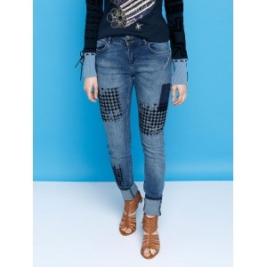 Desigual Blue Washed Mid-Rise Clean Look Jeans