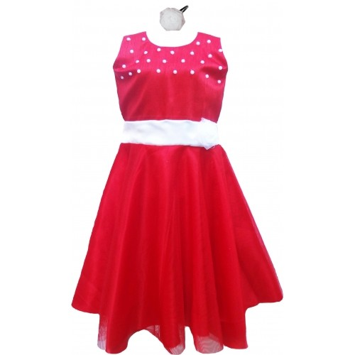 MVD Fashion Red Solid Embroidered Frock