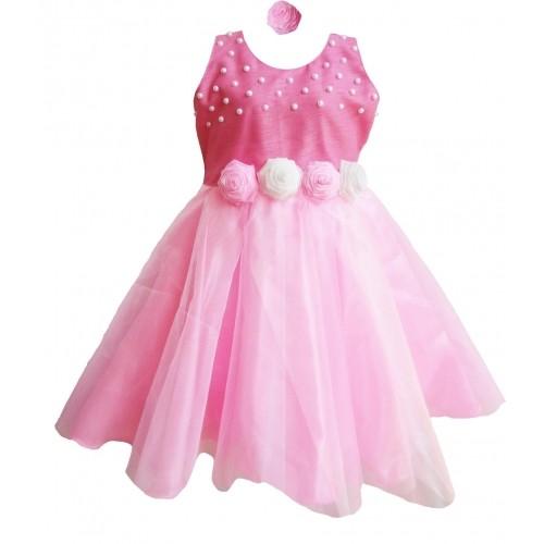 MVD Fashion Pink Silk Solid Frock
