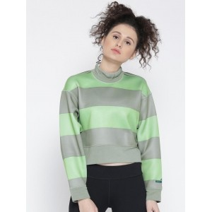 Adidas Grey & Green Striped Crop Sweatshirt