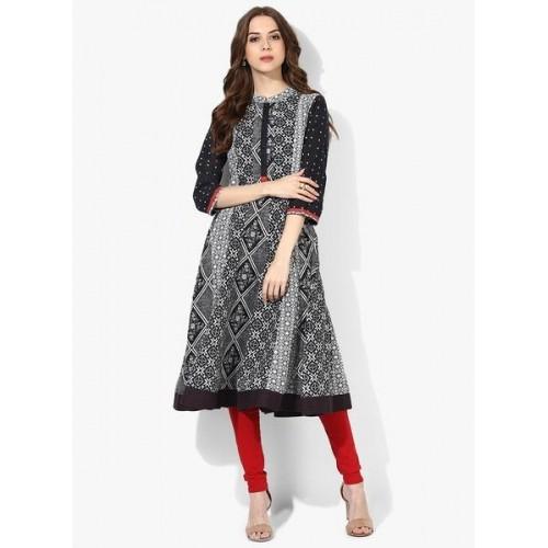 64ebe1ff981 Buy Rangriti Black   Gray Cotton 3 4th Sleeves Anarkali Kurta online ...