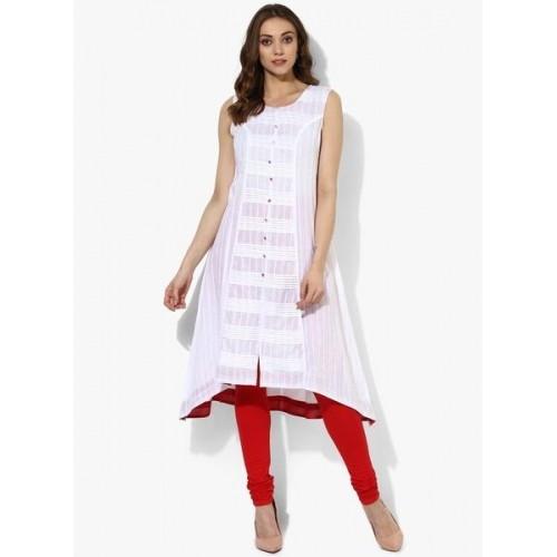 Rangriti White Linen Sleeveless Asymmetrical Hemline Kurta
