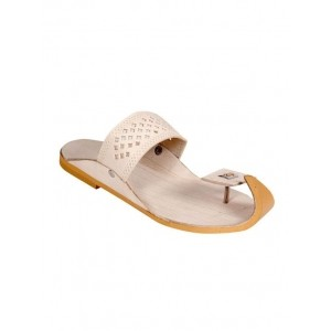 Panahi Beige Slip On Leather Chappal