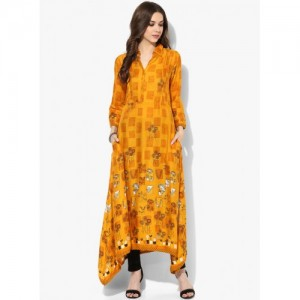 Biba Yellow Synthetic Printed Collar Neck Kurta