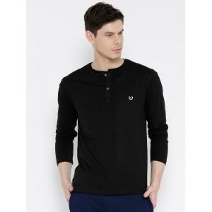 Fort Collins Black Solid Henley Neck T-shirt