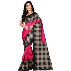 Jaanvi Fashion Black Cotton Silk Saree With Blosue