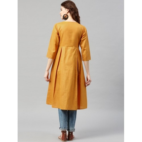 Libas Mustard Solid Cotton A-Line Pleated Kurta