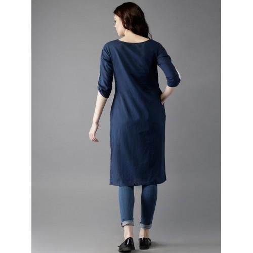 Moda Rapido Navy Blue Cotton Printed Kurta