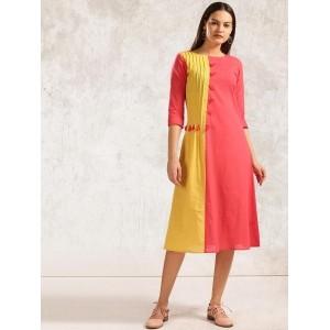 Anouk Red & Yellow Colourblocked A-Line Kurta