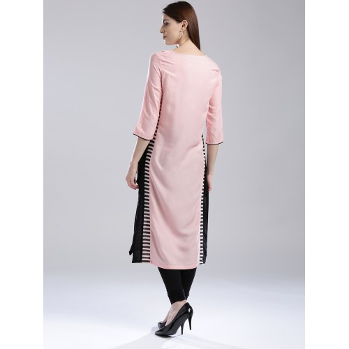 W Women Pink Printed Straight Kurta