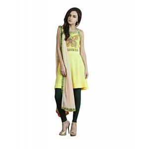 Yepme Yellow & Green Printed Cotton  Women's Salwar Suit