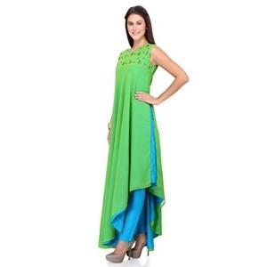 IndusDiva by Neeta Lulla Green Asymmetrical Kurta