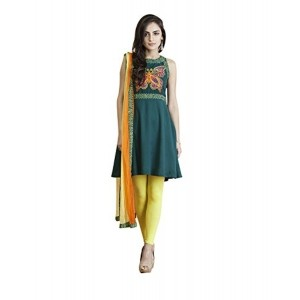 Yepme Teal & Yellow Women's Cotton Kurti, Leggings & Stole