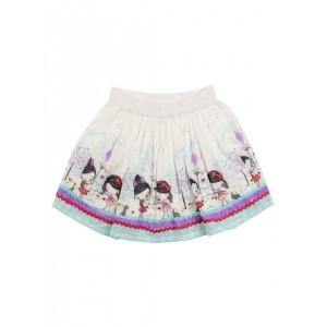 Nauti Nati Girls White Printed Flared Skirt