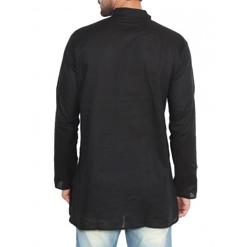 Jainish black cotton Casual Solid kurta