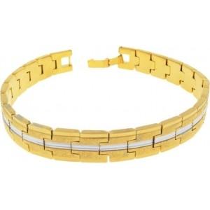 Saizen Golden Stainless Steel Rhodium Bracelet