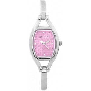 Sonata 8114SM01 Silver & Pink Metal Analog Watch