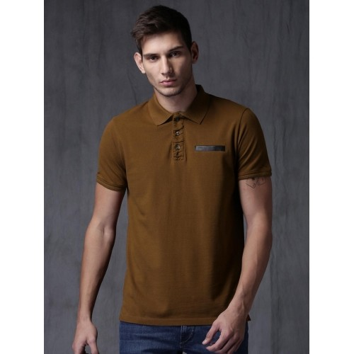 ... Wrogn Coffee Solid Cotton Polo T-Shirt ...