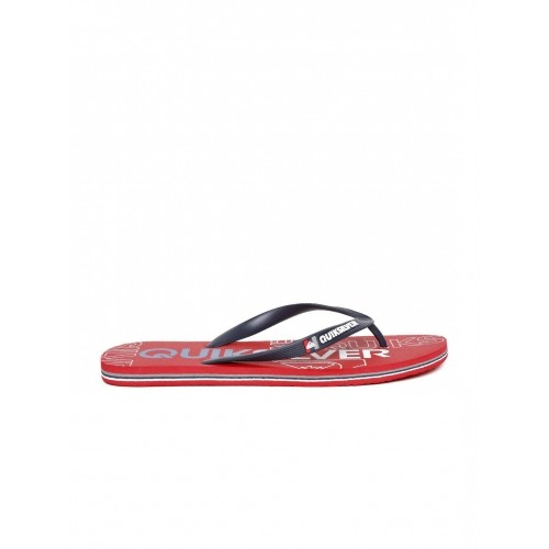 Quiksilver Red Synthetic Printed Flip-Flops