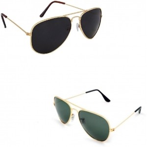 111d09af244c1 Amour-propre Aviator Combo of Dark Black and Dark Green lenses with Classy  Golden Frame