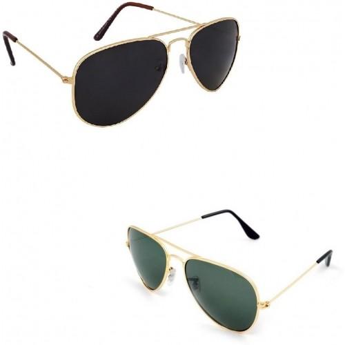 Amour-propre Aviator Combo of Dark Black and Dark Green lenses with Classy Golden Frame Rectangular Sunglasses