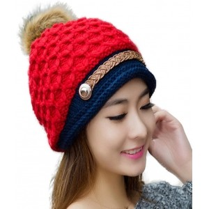 iSweven Red Acrylic Woolen Beanie Cap