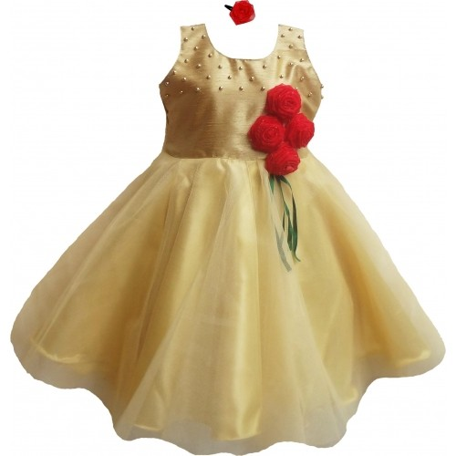 MVD Fashion Golden Net Layered Girl's Party Wear Dress