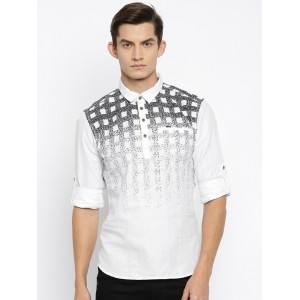 The Indian Garage Co White Printed Straight Men'S Kurta