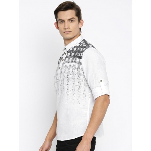 The Indian Garage Co White Printed Straight Men'S Kurta