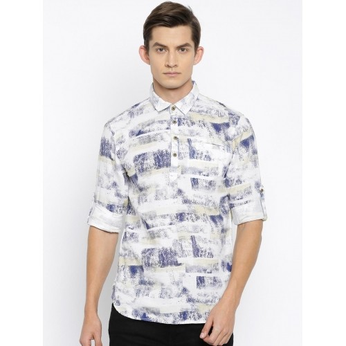 The Indian Garage Co White Printed Men's Straight Kurta