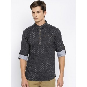 The Indian Garage Co Black Printed Cotton Men's Kurta