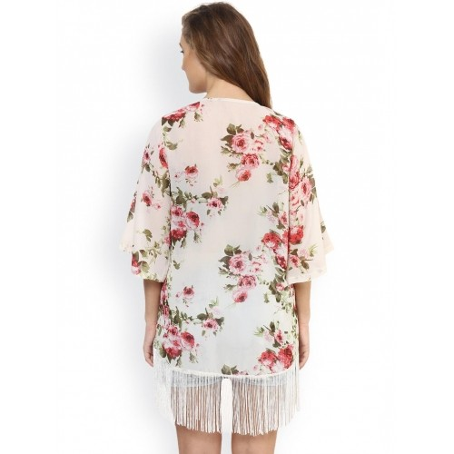 PURYS Off-White & Red Floral Print Fringed Shrug