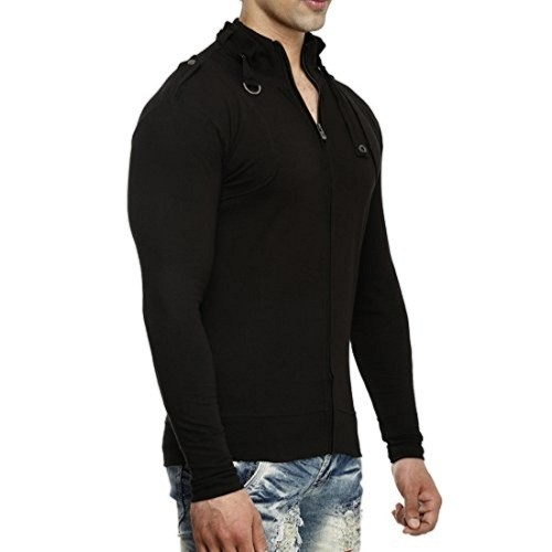 pretty nice 5a7a1 559af ... Tees Collection Men s Stylish Full Zip Buckle Neck Full Sleeve Slim Fit  Black Colour T- ...
