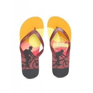 Flipside Burgundy & Orange Printed Flip-Flops