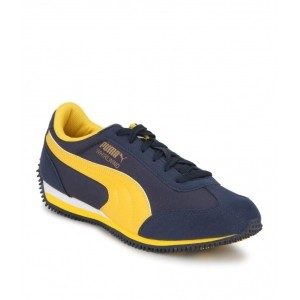 Puma Navy Blue Leather Printed Casual Shoes
