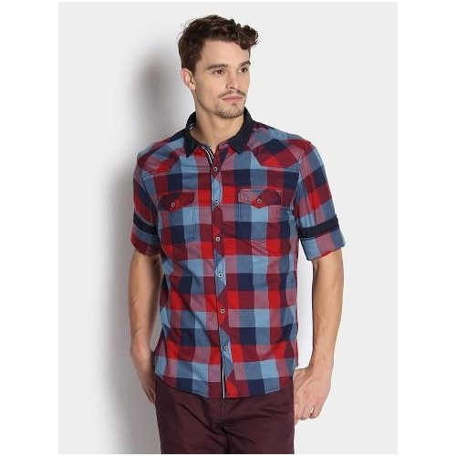 1f9ff9fda9 Buy Bare Denim By Pantaloons Men Red   Blue Checkered Casual ...