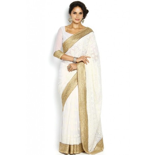59385bd2cbf Buy Soch White   Gold Toned Embroidered Georgette Saree online ...