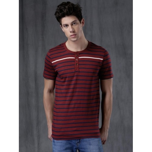 WROGN Men Maroon Striped Henley Neck T-shirt